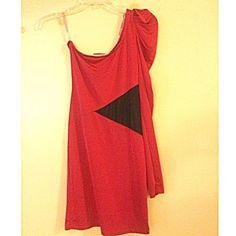 SEXY RED DRESS SEXY RED DRESS, one shoulder hip waist mesh. Dresses