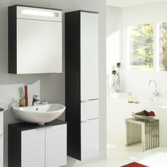 Ideal Badezimmer Hochschrank in Wei Anthrazit H ngend Jetzt bestellen unter https moebel ladendirekt de bad badmoebel badezimmerschraenke uid udecec u