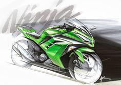 Design Sketches Automotive on Sketch Motorcycle  Ninja Kawasaki Ninja Bike, Kawasaki Motorcycles, Motorcycle Posters, Motorcycle Design, Motorcycle Boots, Moto Ninja, Custom Sport Bikes, Hot Bikes, Funny Art