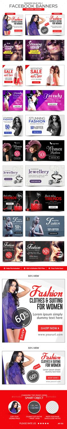 Fashion Sale Facebook Banners - 10 Designs Template PSD #ad Download: http://graphicriver.net/item/fashion-sale-facebook-banners-10-designs/14107262?ref=ksioks