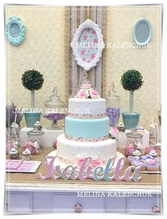 Pink and blue shabby chic vintage birthday party! See more party ideas at CatchMyParty.com!