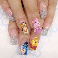 Cartoon nails - winnie the pooh nail art Disney Acrylic Nails, Simple Acrylic Nails, Best Acrylic Nails, Summer Acrylic Nails, Dope Nails, Fun Nails, Pretty Nails, Beautiful Nail Designs, Cool Nail Designs
