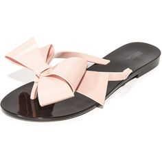 Melissa Harmonic Bow III Thong Sandals (732.490 IDR) ❤ liked on Polyvore featuring shoes, sandals, flip flops, bow thong sandals, melissa sandals, toe post sandals, melissa flip flops and polish shoes