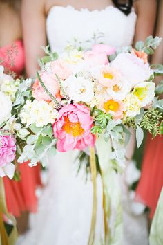 spring bouquet, photo by Adrienne Gunde http://ruffledblog.com/christmas-house-inn-wedding #weddingbouquet #flowers