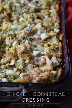 Five Approaches To Economize Transforming Your Kitchen Area Chicken Cornbread Dressing Just Like Your Grandmother Used To Make For The Holidays. Dishes To Go, Main Dishes, Side Dishes, Cornbread Dressing With Chicken, Stuffing Recipes, Best Chicken Recipes, Latest Recipe, Thanksgiving Recipes, Holiday Recipes