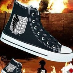 attack on titan shoes attack on titan sneakers custom anime atta,High-top Painted Canvas Shoes