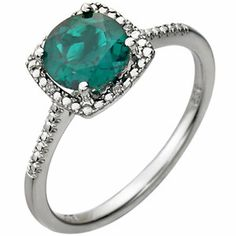Created Emerald and Diamond Ring, 14kt White, 1/5 ctw, Find it at a jeweler near you: http://stuller.com/locateajeweler/