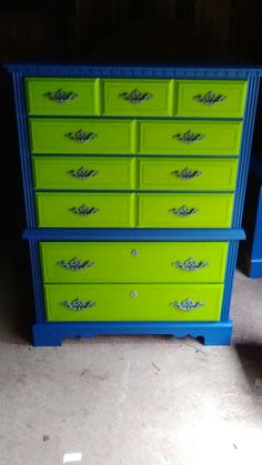 I brought this chest along with dresser, mirror, and a nightstand from the Goodwill for $50. And decided to paint the Seattle Seahawks colors.