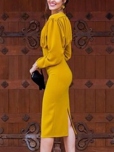 Ruched Design Long Sleeve Midi Dress - Women's style: Patterns of sustainability Girly Outfits, Classy Outfits, Stylish Outfits, Trend Fashion, Womens Fashion, Fashion Design, Fashion 2017, Ladies Fashion, Cheap Fashion