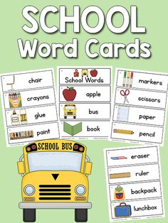 This set of school picture-word cards includes 18 school related words: apple, bus, book, chair, crayons, glue, paint, scissors, paper, pencil, eraser, ruler, back pack, lunchbox, school, globe, notebook, chalkboard. There are more sets inthe Picture-Word Cards collection. This set is great to use at the beginning of the school year. How to use the cards in theclassroom: You can place the picture-word cards in a pocket chart near thewriting