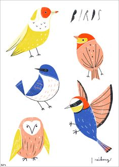 Neiko Ng - Birds, illustration, drawing, print, na Art And Illustration, Vogel Illustration, Illustration Animals, Bird Drawings, Art Graphique, Love Birds, Bird Art, Bird Feathers, Illustrators