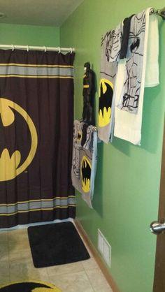 What a creative bathroom decor the heroic batman stands for Batman bathroom ideas