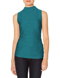 Turquoise Textured Sleeveless Mock Neck Top from THELIMITED.com $40