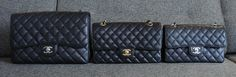 "Chanel Classic Flap size comparison Small - 9"" x 5.5"" x 2"" Medium - 10"" x 6"" x 2.5"" Jumbo - 12"" x 8"" x 3"""