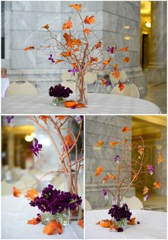 This November wedding by Wendy G photography highlights Autumn leaves and deep purple florals.