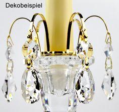 Aufsteck Krone gold + Kristall Tropfen 30% PbO Bleikristall für Leuchter - premium-kristall