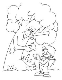 tree giving the fruit to a boy coloring pages download free tree giving the fruit - Giving Coloring Pages