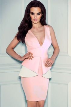 Pink White Deep V Neck Peplum Dress US$24.86 Plus Size Prom Dresses, Tight Dresses, Short Dresses, Special Dresses, Summer Dresses, Formal Dresses, Clubwear Dresses, Ball Gowns Prom, Sexy Outfits