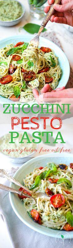 Gluten free, vegan and oil free zucchini pesto pasta with roasted cherry tomatoes! Vegan zucchini recipes! Vegan , plant based recipes!