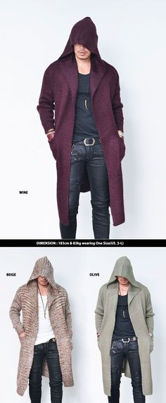 Tops :: Knits :: Big Hood Wool Cape Long Jacket-Cardigan 142 - Mens Fashion Clothing For An Attractive Guy Look