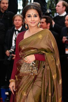 fashion, designer sarees, cannes film festival, blous, red carpets, indian, bollywood, sari, vidya balan
