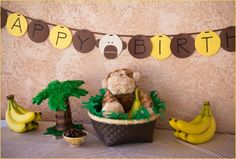 now I'm thinking Monkey Party because of how much she loves monkeys & I think it could be more creative. Love this banner, seems easy to make.