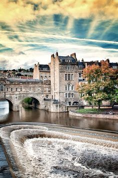 Bath, England. Famous waterfall shown in the movie Les Meserables.  Beautiful city.  First King of England crowned in Bath.
