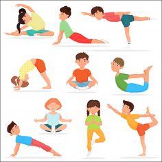 Cute yoga kids set Children yoga gymnastics vector image on VectorStock Yoga Vector, Chico Yoga, Pe Activities, Upward Facing Dog, Yoga Illustration, Easy Meditation, Zen Yoga, Kid Poses, School Sports