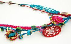 Yu-Chiri necklace – koukla-art Crochet Necklace, Quartz, Unique, Silver, Cotton, Handmade, Jewelry, Bijoux, Hand Made