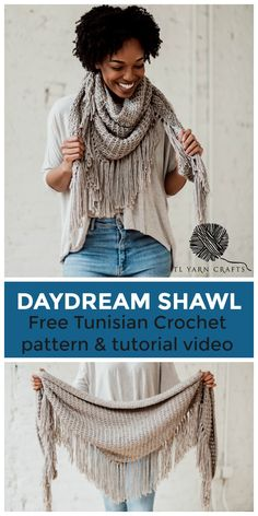 The Daydream Shawl, a boho textured wrap with fringe - TL Yarn Crafts Make the Daydream Shawl, a beginner friendly Tunisian crochet boho triangle scarf. Pattern includes a helpful tutorial video! Crochet Triangle Scarf, Crochet Poncho, Crochet Scarves, Beginner Crochet Scarf, Crochet Fringe, Lace Knitting, Free Crochet, Tunisian Crochet Patterns, Shawl Patterns
