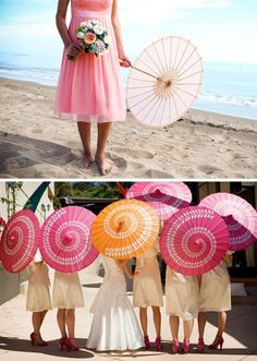 pink and tangerine umbrellas.... Is it okay that I want umbrellas at my wedding?