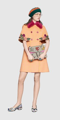 Gucci Look 42 - Women, Pre-Fall 2016 Collection High Fashion, Luxury Fashion, Womens Fashion, Cape Sleeve Dress, College Wardrobe, Diy Clothes, Clothes For Women, Gucci Floral, 2016 Fashion Trends