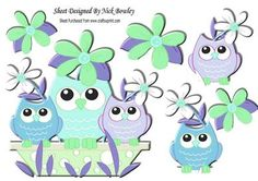 Owl family in Blue with flowers A4 on Craftsuprint - Add To Basket!
