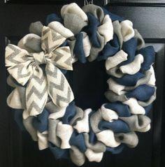 Everyday Wreath Front Door Wreath Navy Blue by AddieBeeDesigns