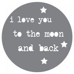 knijter.nl - Saynomore Love you to the moon( Grijs) Muursticker