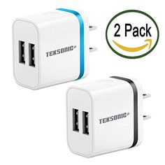 TekSonic 2 Pack 21 Amp Dual USB Wall Charger Portable Home Travel USB Adapter Charger Plug for iPhone 7 6 5 iPad Samsung Galaxy S7 Edge Note 5 HTC LG G5 Nexus Nokia Motorola *** Find out more about the great product at the image link.