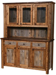 Natural Barnwood Medium Buffet and Hutch. Made of reclaimed, treated, and finished old wood from barns and other structures. $2,915.