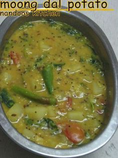 This is a tasty and healthy side dish made out of moong dal and potatoes. It can be served as accompaniment with roti. It is very easy to make and tasty. Veg Curry, Potato Curry, Potato Soup, Vegetable Curry, Lentil Curry, Vegetarian Cooking, Cooking Recipes, Healthy Recipes, Drink Recipes