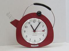 Vintage Red Wooden Teapot Clock c1985 by myabbiesattic :):