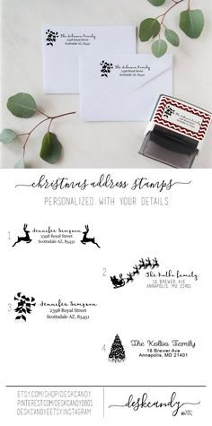 Custom Christmas Address Stamps. Perfect for Christmas cards, Holiday cards and party invitations!