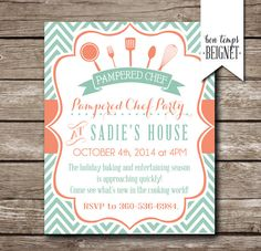 0ec9f09cbb78 Pampered Chef Party Invitation - Bridal Shower Invitation