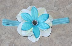 Custom Tropical Flower on elastic headband!