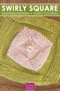 Swirly Square Stitch Blanket Pattern : The Swirly Square Knit Stitch Pattern is. Swirly Square Stitch Blanket Pattern : The Swirly Square Knit Stitch Pattern is so fun, whimsical, and modern. Easy Knitting Projects, Easy Knitting Patterns, Knitting Videos, Knitting For Beginners, Knitting Stitches, Free Knitting, Stitch Patterns, Crochet Patterns, Knitting Squares