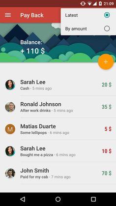 Payback Material Design #Mobile #App Filter