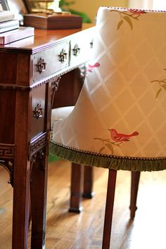 vintage chair with a sweet velvet ruffle