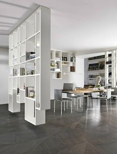Find out all of the information about the LAGO product: solid parquet floor / glued / oak / oiled SLIDE. Living Room Partition, Room Partition Designs, Living Room Shelves, Diy Interior, Interior Decorating, Interior Design, Moderne Pools, Architecture Design, Deco Design