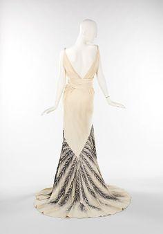 Feather printed evening dress. c. 1932-1934 via The Metropolitan Museum of Art -- -- @Matthew Addonizio Wise Brunette