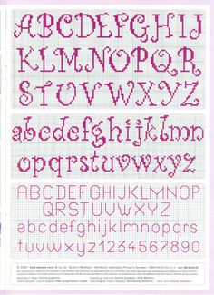 cross stitch alphabet nice curly easy to read -- looks easy to do by Renata Bari. - cross stitch alphabet nice curly easy to read — looks easy to do by Renata Barillari - Cross Stitch Alphabet Patterns, Embroidery Alphabet, Cross Stitch Letters, Cross Stitch Samplers, Cross Stitch Charts, Cross Stitch Designs, Cross Stitching, Cross Stitch Embroidery, Stitch Patterns