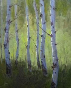 """Daily Paintworks - """"Spring Greens"""" - Original Fine Art for Sale - © Bonnie Bowne"""