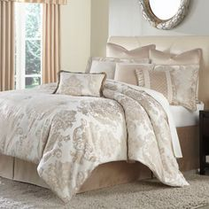 Create a dramatic look in your bedroom with the Marbella Comforter Set from Michael Amini. The detail is exquisite on this bedding with a beautiful oversized frame motif and stria texture throughout. Comforters, European Pillows, Bed Decor, Comforter Sets, Bed, Luxury Bedding, Bedding Shop, Bed Bath And Beyond, Home Decor